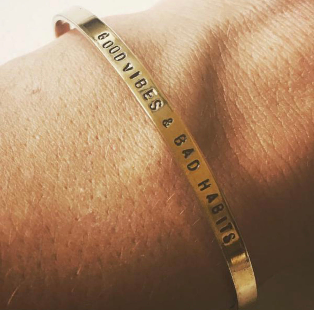 Good Vibes & Bad Habits Bangle - Hustle & Hunee