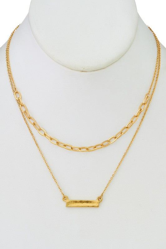 Layered Chainlink Bar Necklace