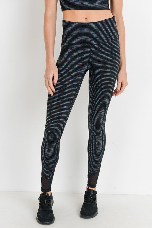 Highwaist Nebula Stripe Print Mesh Panel Leggings - Hustle & Hunee
