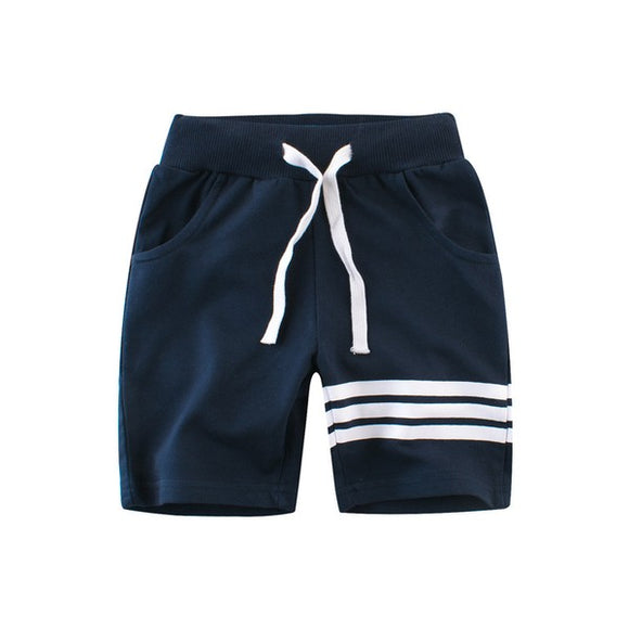Triple Stripe Navy Athletic Shorts - Kids - Hustle & Hunee