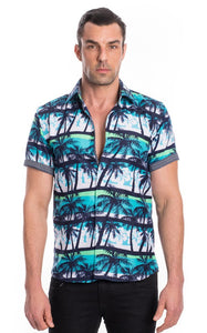 Palm Tree Men's Button Up Polo Shirt - Hustle & Hunee