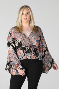 Peplum Crossover Top - Curvy Collection - Hustle & Hunee