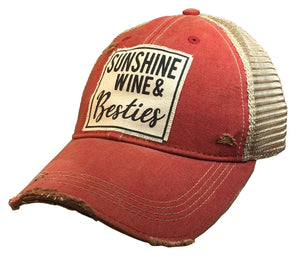 Sunshine Wine & Besties Distressed Patched Hat - Hustle & Hunee