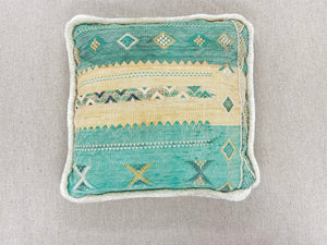Vintage Rug Cream Trim Southwest Pillow