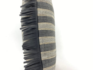 Leather Fringe Black / Stripe Southwest Pillow