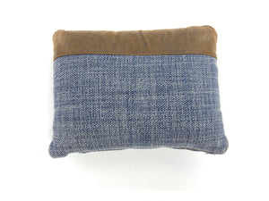 Leather Cap Combo Blue / Brown Pillow