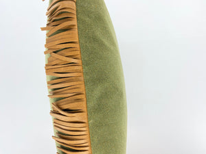 Leather Fringe Brown / Green Pillow
