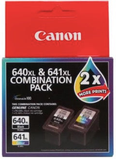2-Pack Canon Genuine PG-640XL, CL-641XL High Yield Ink Cartridge (1 Black+1 Colour)