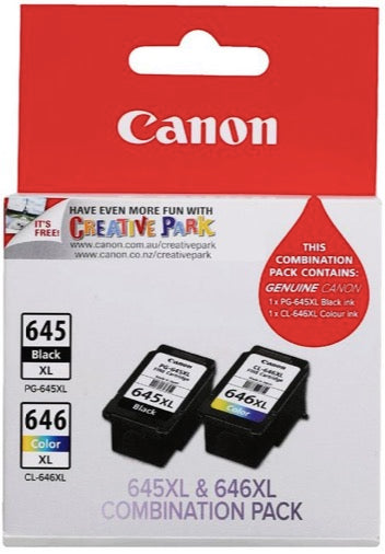2-Pack Canon Genuine PG-645XL, CL-646XL High Yield Ink Cartridge (1 Black+1 Colour)
