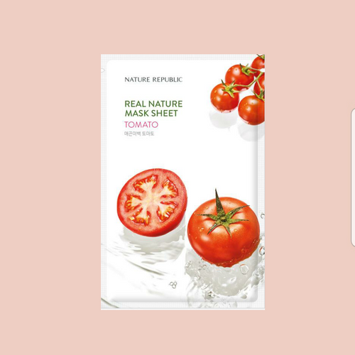 This is a Korean sheet mask the NATURE REPUBLIC Real Nature Tomato Mask Sheet helps moisturize and brighten skin.