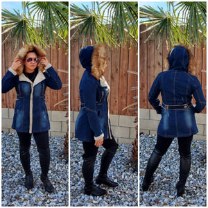 Fur denim jacket - Luxor Boutique
