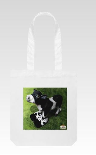 Tote Bag Canvas Cow Wearing Slippers