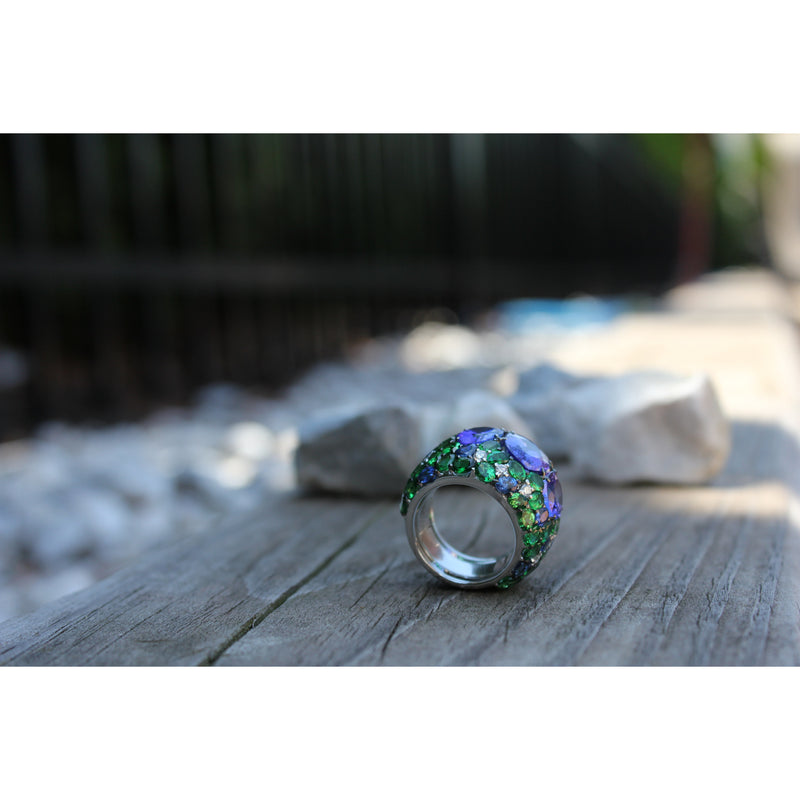 Azure Forest 0.75 ct Diamonds, 9.88 ct Tanzanites, 3.05 ct Sapphire & 9.31 ct Tsavorite 18K Ring