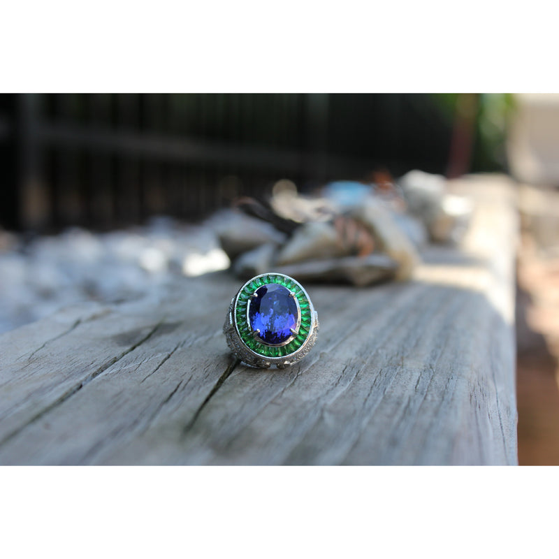 Luxury Dream Diamonds, Tanzanite & Tsavorite Ring
