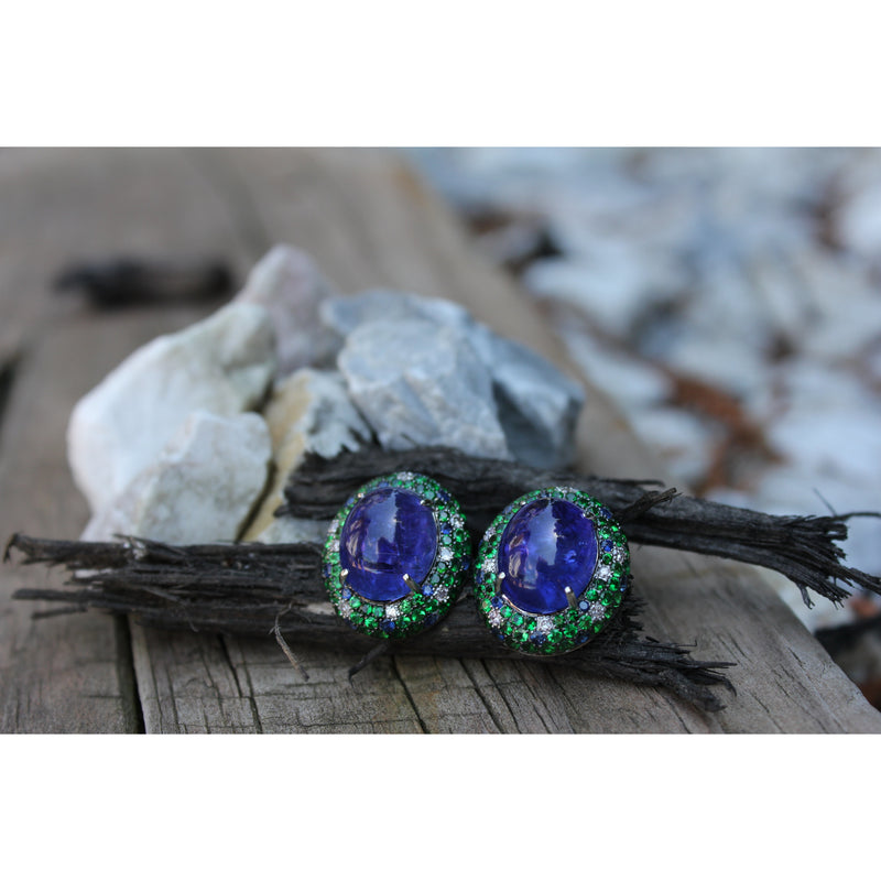 Twin Moons 0.22 ct Diamonds, 19.94 ct Tanzanite, 0.52 ct Sapphires & 3.26 ct Tsavorite Cabochon Earrings
