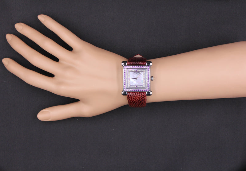 Effy Park Avenue Diamond & Amethyst Mother-of-Pearl Dial Ladies Watch