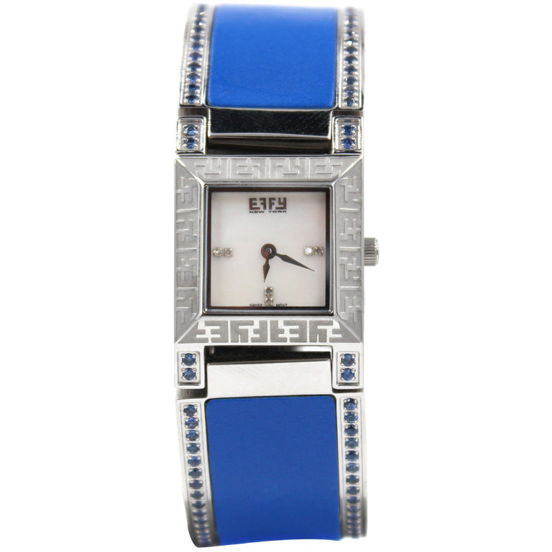 Effy Diamond & Blue Sapphire Mother-of-Pearl Dial Watch