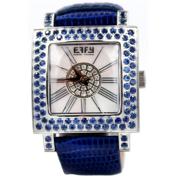 Effy Time Square 0.17 ct Diamond 3.20 ct Blue Sapphire Mother-of-Pearl Dial Unisex Watch