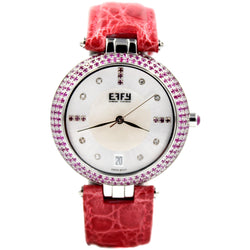 Effy Chrysler Pink Sapphire Mother-of-Pearl Dial Ladies Watch