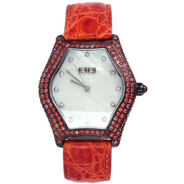 Effy Broadway 0.18 ct Diamond & 4.55 ct Orange Sapphire Mother-of-Pearl Dial Ladies Watch