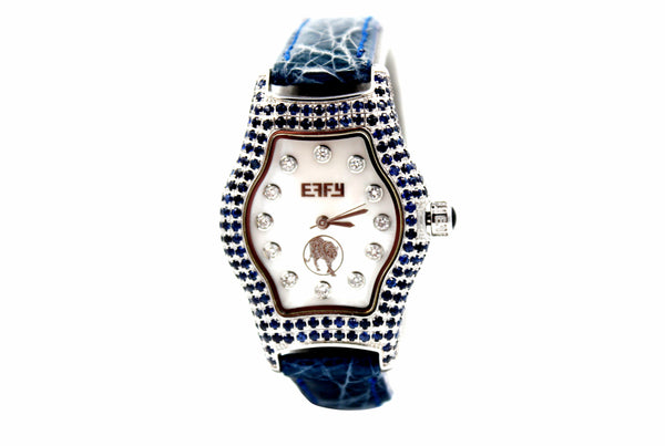 Effy Mini Broadway Diamond & Sapphire Mother-of-Pearl Dial Ladies Watch