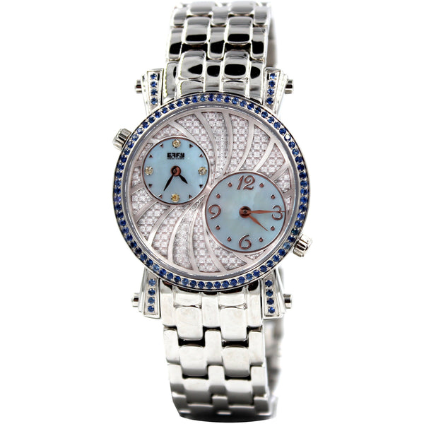 Effy Fashion Wave 0.92 ct Blue Sapphire Mother-of-Pearl Dial Unisex Watch