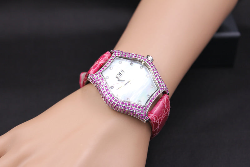 Effy Broadway 0.20 ct Diamond & 4.30 ct Pink Sapphire Mother-of-Pearl Dial Ladies Watch