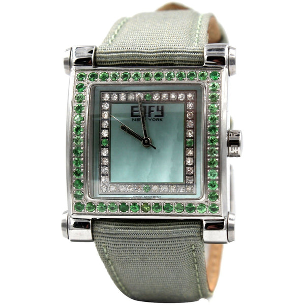 Effy Park Avenue Diamond & Tsavorite Mother-of-Pearl Dial Ladies Watch