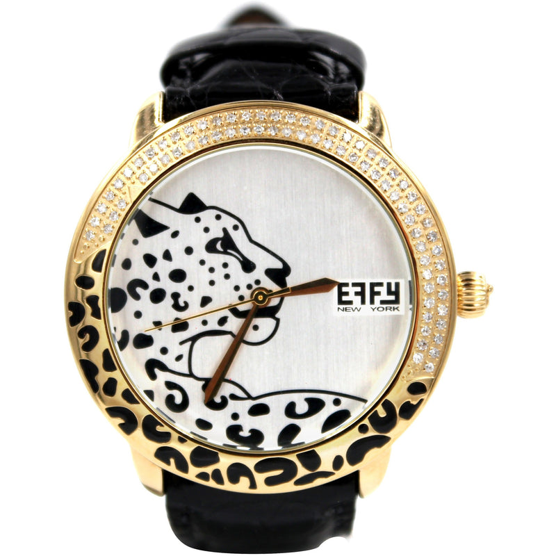 Effy Panther Diamond Golden/Bronze White Dial Ladies Watch