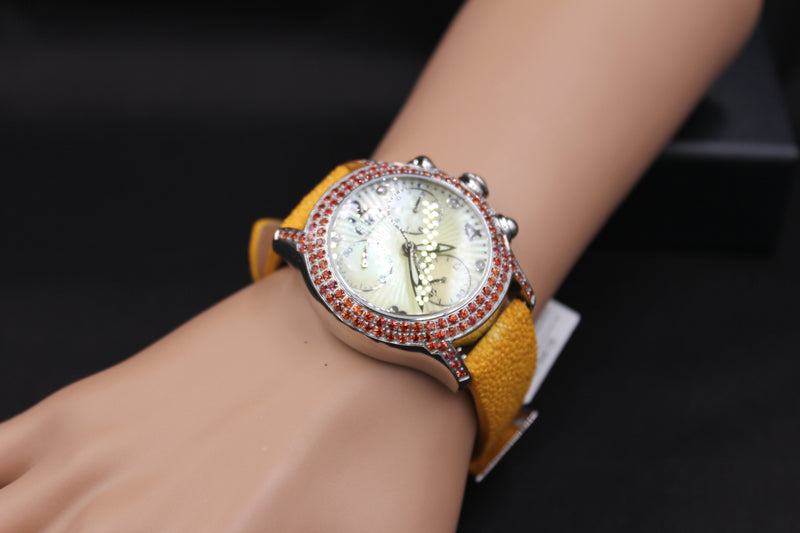 Effy Columbus Circle Diamond & Orange Sapphire Mother-of-Pearl Dial Unisex Watch