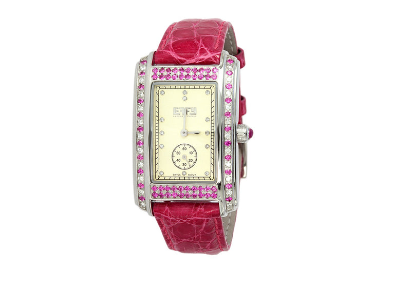 Effy Wall Street Diamond & Pink Sapphire Wall Street Watch
