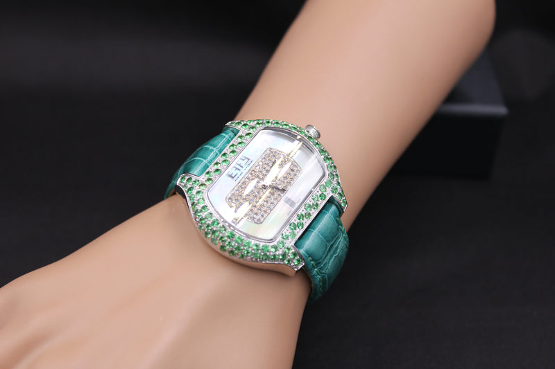 Effy So-Ho Diamond & Tsavorite Mother-of-Pearl Dial Unisex Watch