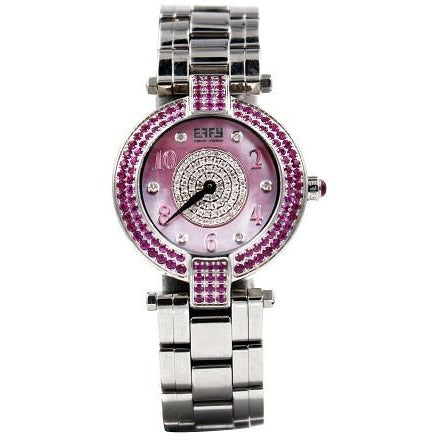 Effy 5th Ave. 0.90 ct Diamond & 2.21 ct Pink Sapphire Mother-of-Pearl Dial Ladies Watch