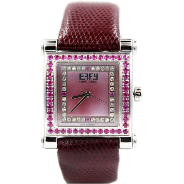 Effy Park Avenue Diamond & Pink Sapphire Mother-of-Pearl Dial Ladies Watch