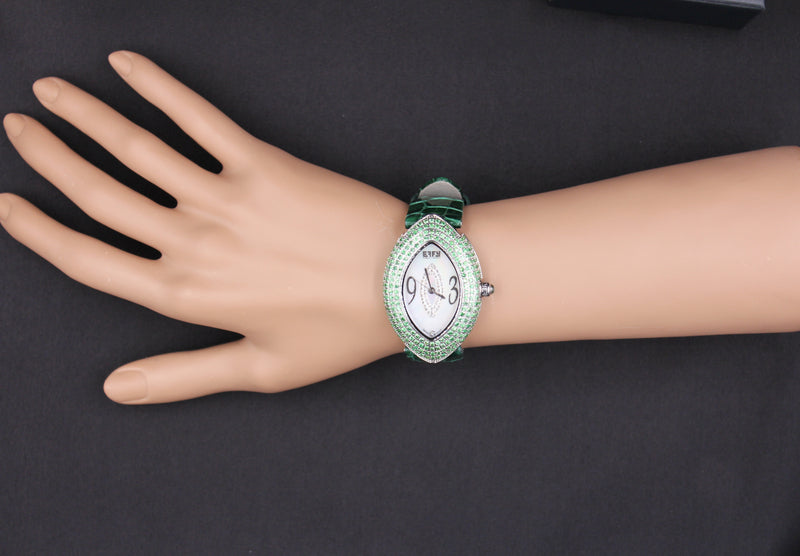 Effy Empire Diamond & Tsavorite Mother-of-Pearl Dial Ladies Watch
