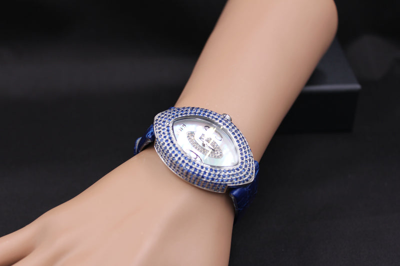 Effy Empire Diamond & Blue Sapphire Mother-of-Pearl Dial Ladies Watch