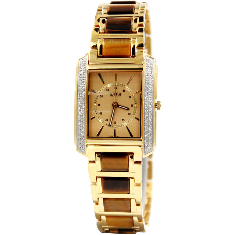 Effy Diamond Golden Brown Tiger's Eye Dial Unisex Watch