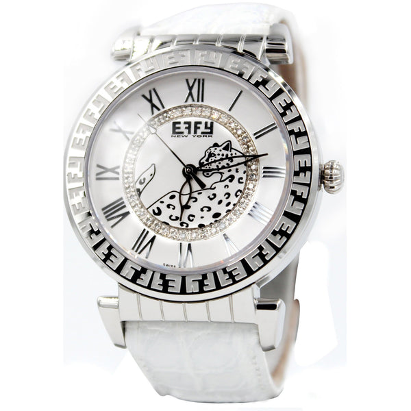 Effy Silver White Panther 0.43 ct Diamond Mother-of-Pearl Dial Unisex Watch
