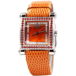 Effy Park Avenue Diamond & Orange Sapphire Mother-of-Pearl Dial Unisex Watch