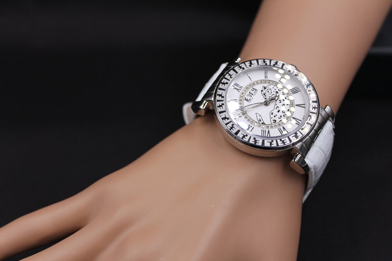 Effy Silver White Panther Diamond Mother-of-Pearl Dial Unisex Watch