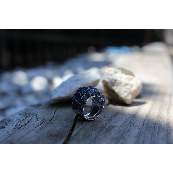 Azure Forest Diamonds, Tanzanite, Sapphire & Tsavorites Ring