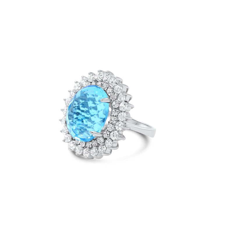Sky Blue Topaz with Sun Ray Shaped Diamonds Ring