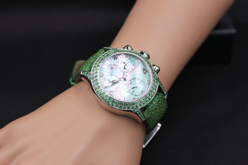Effy Columbus Circle Diamond & Tsavorite Mother-of-Pearl Dial Unisex Watch