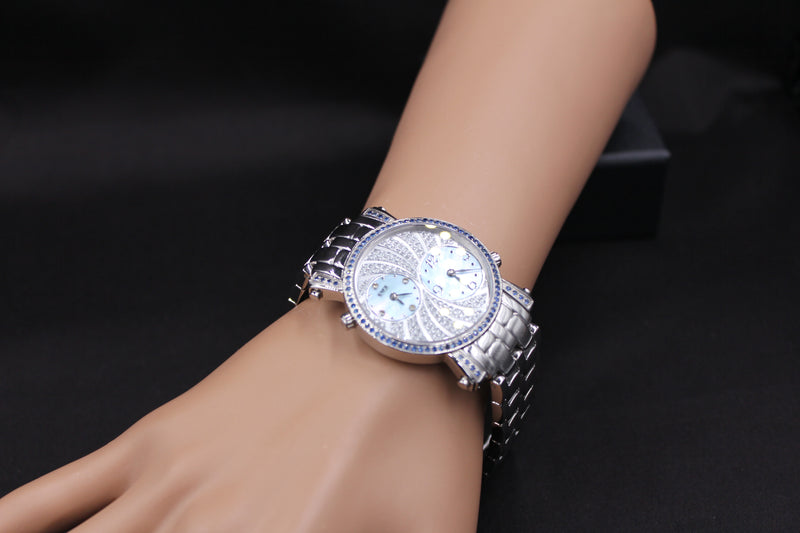 Effy Fashion Wave Blue Sapphire & Diamond Mother-of-Pearl Dial Unisex Watch