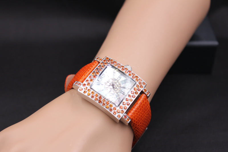 Effy Time Square Diamond & Orange Sapphire Mother-of-Pearl Dial Unisex Watch