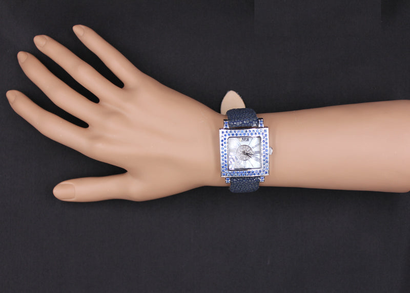 Effy Time Square Diamond & Blue Sapphire Mother-of-Pearl Dial Unisex Watch