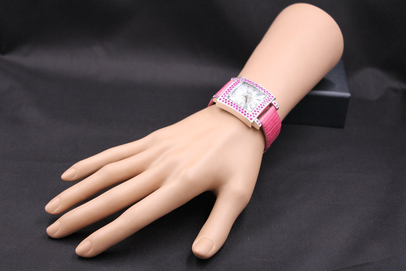 Effy Time Square Diamond & Pink Sapphire Mother-of-Pearl Dial Ladies Watch