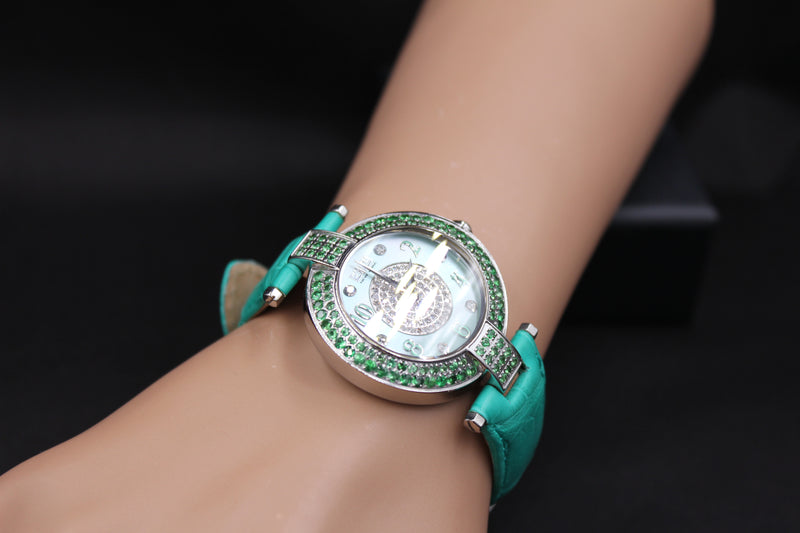 Effy 5th Avenue Diamond & Tsavorite Mother-of-Pearl Dial Ladies Watch