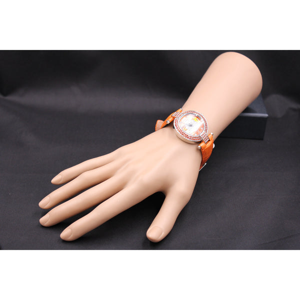 Effy 5th Ave. 0.47 ct Diamond & 2.81 ct Orange Sapphire Mother-of-Pearl Dial Ladies Watch