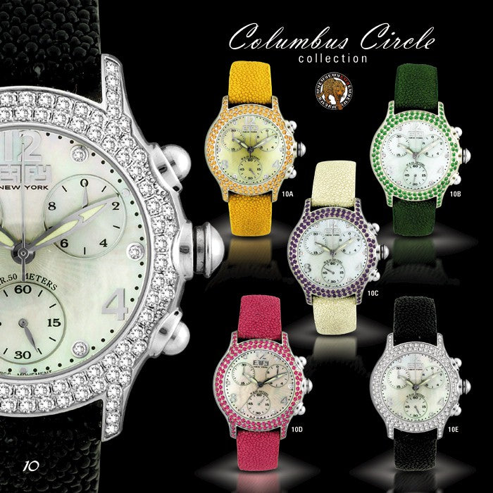 Effy Columbus Circle Diamond & Pink Sapphire Mother-of-Pearl Dial Ladies Watch